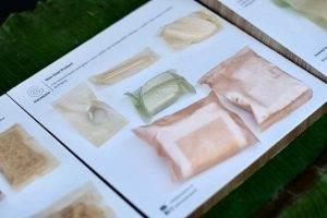 不可食用但可分解的肥皂、牙線、衛生棉包裝
